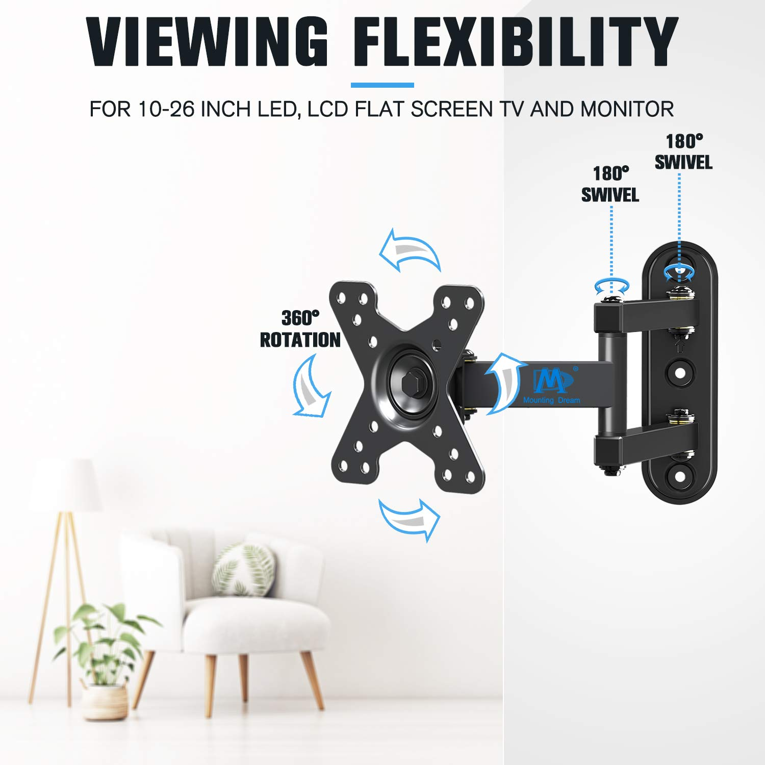 Mounting Dream Full Motion Monitor Wall Mount TV Bracket for 10-26 Inch LED, LCD Flat Screen TV and Monitor, TV Mount with Swivel Articulating Arm, Monitor Mount Up to VESA 100x100mm and 33LBS MD2463