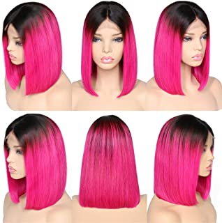 Remeehi Short Straight Bob Full Head Wigs None Lace Full Head Wig For Women Rose Red 14inch