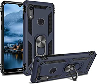 Phone Case for Huawei Y6 2019 /Y6 Prime Armor Heavy Duty 360 Rotatable Ring Kickstand Cover & Magnetic Car Mount Grip Shockproof Back Case for Huawei Honor 8A Blue
