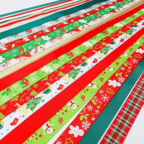 Konsait 22Pack Christmas Ribbons Trims Grosgrain Ribbons Multicolor Organza Ribbons Satin Ribbons Metallic GlitterRibbons for Xmas Decor Winter Holiday Festival Season Christmas Gift Wrapping