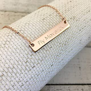 Ship Same Day Til 2:00 EST,Mother's day gift,Personalized Name Bar Necklace - Engraved necklace,Christmas gift, Custom Jewelry, Rose gold plated,silver name bar pendant,Holiday Gift,gift for her