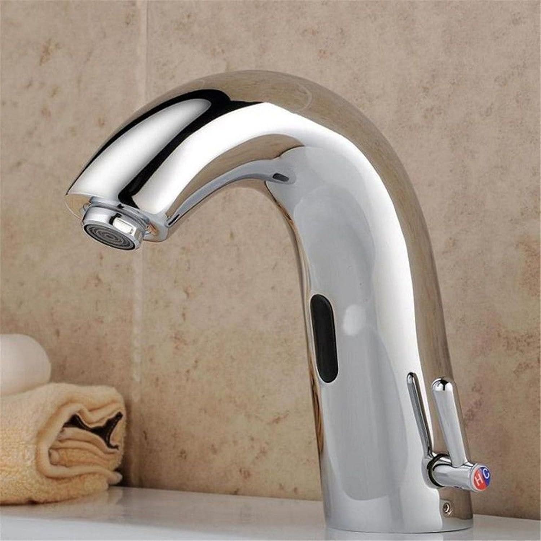 AQMMi Bathroom Sink Faucet Basin Mixer Tap Modern Chrome Brass Sensor 1 Hole Single Lever Basin Sink Tap Bathroom Bar Faucet