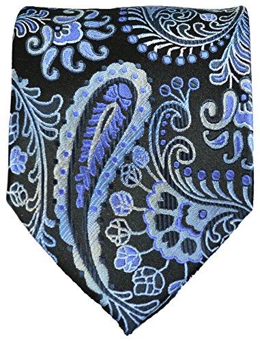 Cravate homme noir bleu paisley ensemble de cravate 3 Pièces ( longueur 165cm )