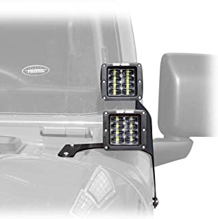 Four LED a-Pillar Cube Side Light Windshield Light Bar Kit Compatible with Jeep Wrangler JL 2018+
