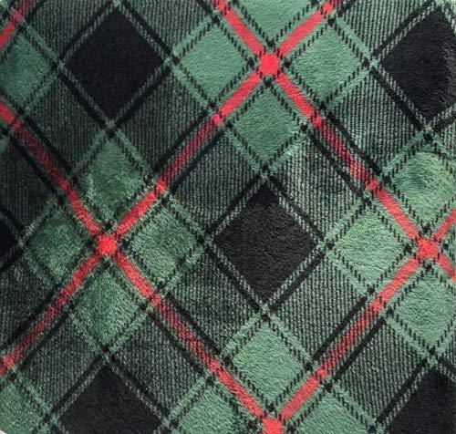 Berkshire Blanket Perfect Touch Velvetloft Plush Throw (Green with Red Plaid)