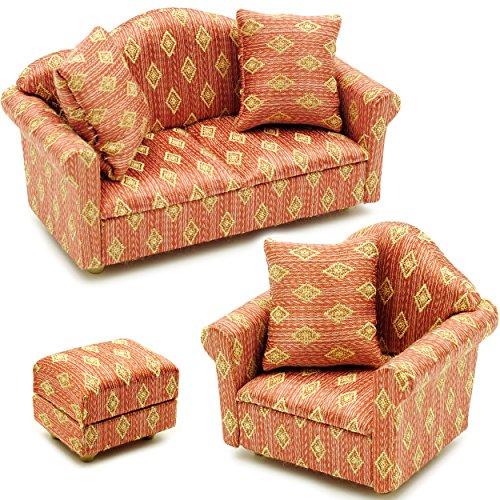 alles-meine.de GmbH 3 TLG. Set _ Miniatur Wohnlandschaft - Sofa / Couch + Sessel + Hocker -  rot weinrot - Gemustert  - mit 3 Kissen - für Puppenstube Maßstab 1:12 - rotbraun /..
