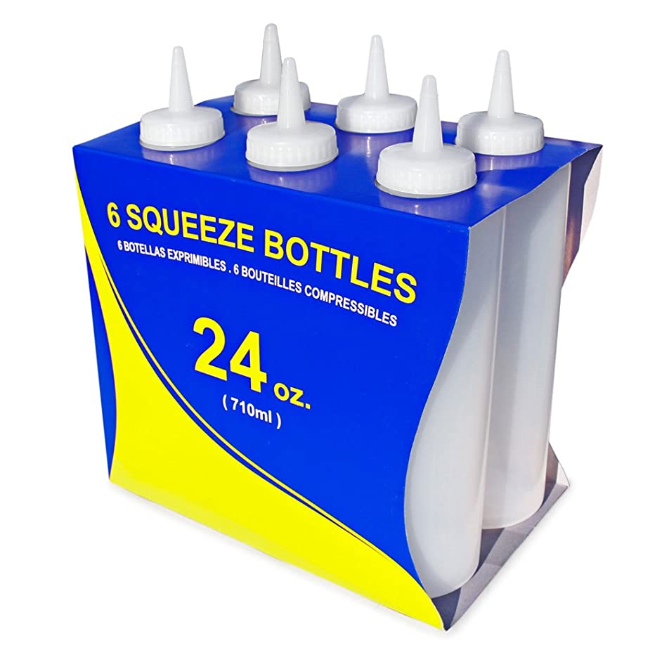New Star Foodservice 26221 Squeeze Bottles, Plastic, 24 oz, Clear, Pack of 12