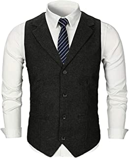 GRMO Men Business Single Breasted Classic Sleeveless Waistcoat Dress Vest