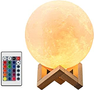 Night Light Kids Bedside Lamp - 3D Moon Lamp, 18cm/7 inch, 16 Colors RGB, Dimmable, Remote and Touch Control, Home Decor f...