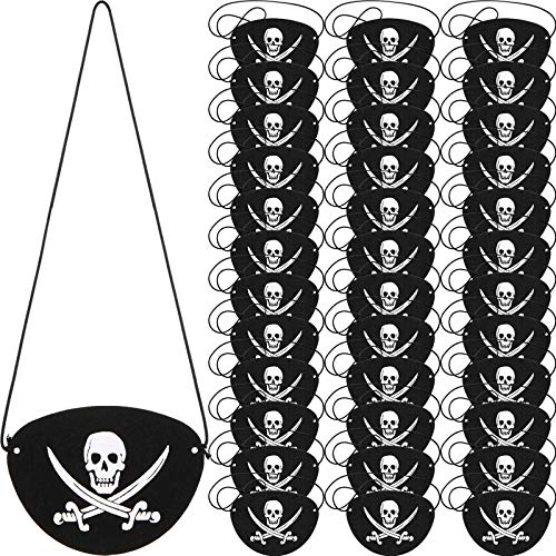 Parche de Ojo de Pirata de Fieltro Negro Parche de Un Ojo de Capitán de Cráneo para Fiesta Temática de Pirata Halloween Navidad (36 Piezas)