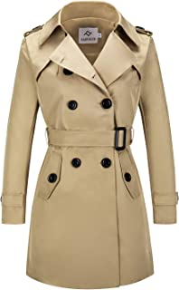 Women's Double Breasted Trench Coat Water Resistant Classic Belted Lapel Overcoat