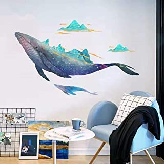 DERUN TRADING Giant Whale Ocean Wall Stickers Decals Decor Art Mural Peel & Stick Graphic for Nursery Kids Room Bedroom Living Room Bathroom Under Water Sea Nautical Theme Beluga Decorations DIY