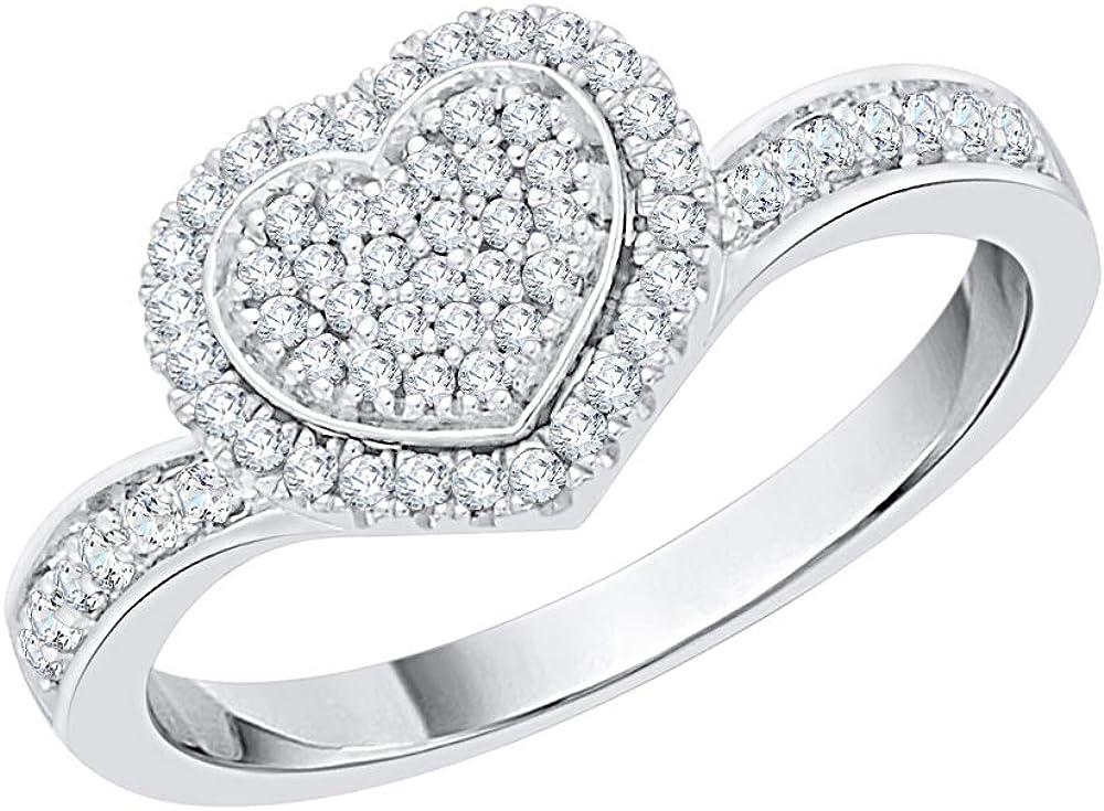 KATARINA Ultra-Cheap Deals Diamond Cluster Heart Ring in Free Shipping New J-K 1 cttw Gold 14k 4