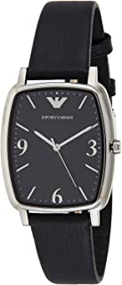 Emporio Armani Women's Black Dial Leather Band Watch - AR2490