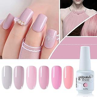 Vishine Gel Nail Polish Kit Set of 6 Color Pink Series UV LED Soak Off Gel 8ml Professional for Home Salon DIY Nail Art Gift Set