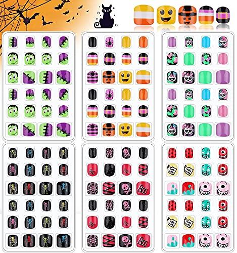 EBANKU 144 Stk Halloween Künstliche Nägel Zum Aufkleben Kinder falsche Fingernägel Selbstklebend Kunstnägel Fake Nails zum aufkleben für Mädchen Kinder