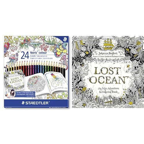 Set - STAEDTLER Buntstifte Noris colour Set 24 Farben und Johanna Basford - Lost Ocean: An Inky Adventure and Coloring Book