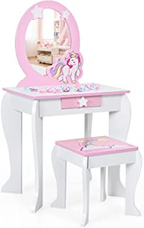 COSTWAY Kinderen kaptafel set, houten prinses kaptafel met krukje, afneembare spiegel en opberglade, spelen make-uptafel k...