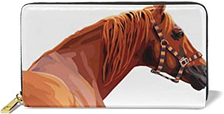 Women's Long Leather Card Holder Purse,Race Jokey Horse Pure Noble Animal Ride Hobby Nature Vehicle Artwork Paint,Elegant Clutch Wallet