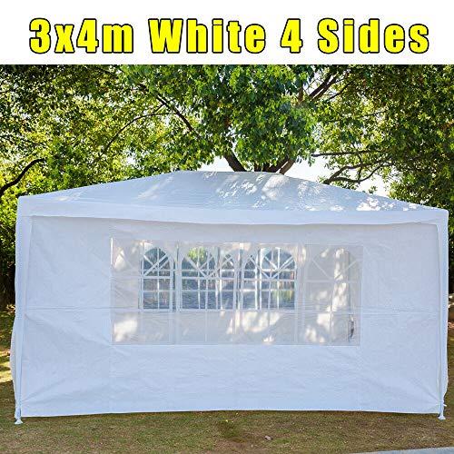 JAOSY 3M x 4M Gazebo waterdicht met 4 zijwanden 3 vensters luifel bruiloft tent luifel tuin partytent opgewaardeerde versie, 5 jaar garantie, wit