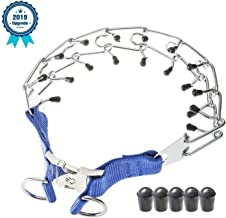Deyace Dog Prong Collar, Professional Dog Pinch Training Collar, Stainless Steel Choke Pinch Dog Collar with Comfort Rubber Tips, Adjustable Size and Quick Release Buckle