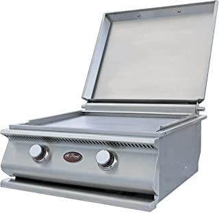 """Cal Flame BBQ14900P 24"""" Built-In Hibachi Flat Top Griddle with 15000 BTU 2 Concealed Burners Highly Polished Steel Griddle Plate and Removable Cover in Stainless Steel: Liquid"""