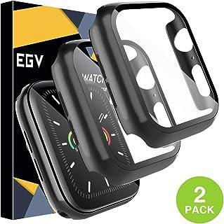 EGV Protector de Pantalla para Apple Watch 44mm Serie 5/4 Cristal Vidrio Templado, [2 Pack] [PC Funda] [HD Película] Carcasa Funda para iWatch Serie 5/Serie 4 44mm - Negro
