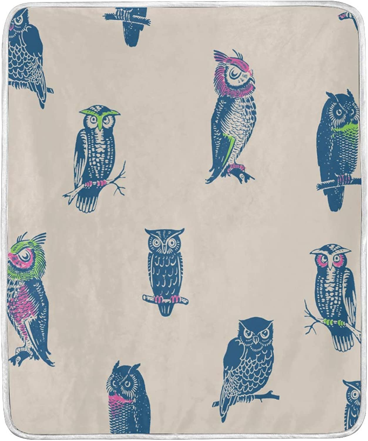VIMMUCIR Home Decor Owl Blanket Soft Warm Throw Blankets for Bed Sofa Lightweight Travelling Camping 50 x 60 Inch for Kids Adults