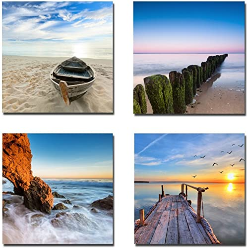 Wieco Art - Seaview Modern Seascape Giclee Canvas Prints Artwork Contemporary Landscape Sea Beach Pictures to Photo P...