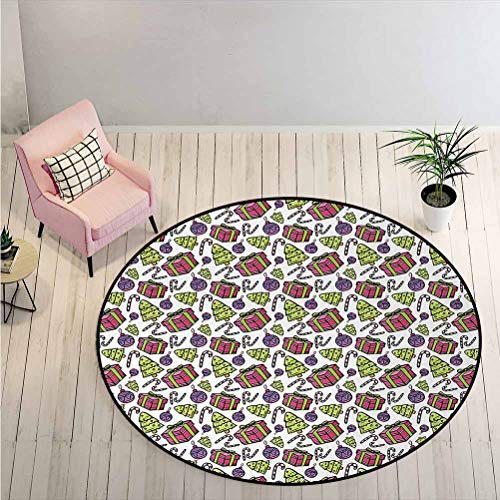 Area Rug Colorful Tree Ornate Boxes and Candy Canes Pattern Christmas Themed Illustration Indoors Bathroom Mats Non Slip Stain Resistant, Non-Shed - Eco-Friendly Multicolor Diameter - 6 Feet