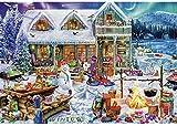 EXking Navidad muñeco de Nieve Paisaje Rompecabezas para niños Adultos, Grandes Pinturas intelectuales educativas Juego de Rompecabezas Juguetes Regalo para Juegos decoración de la Pared del hogar