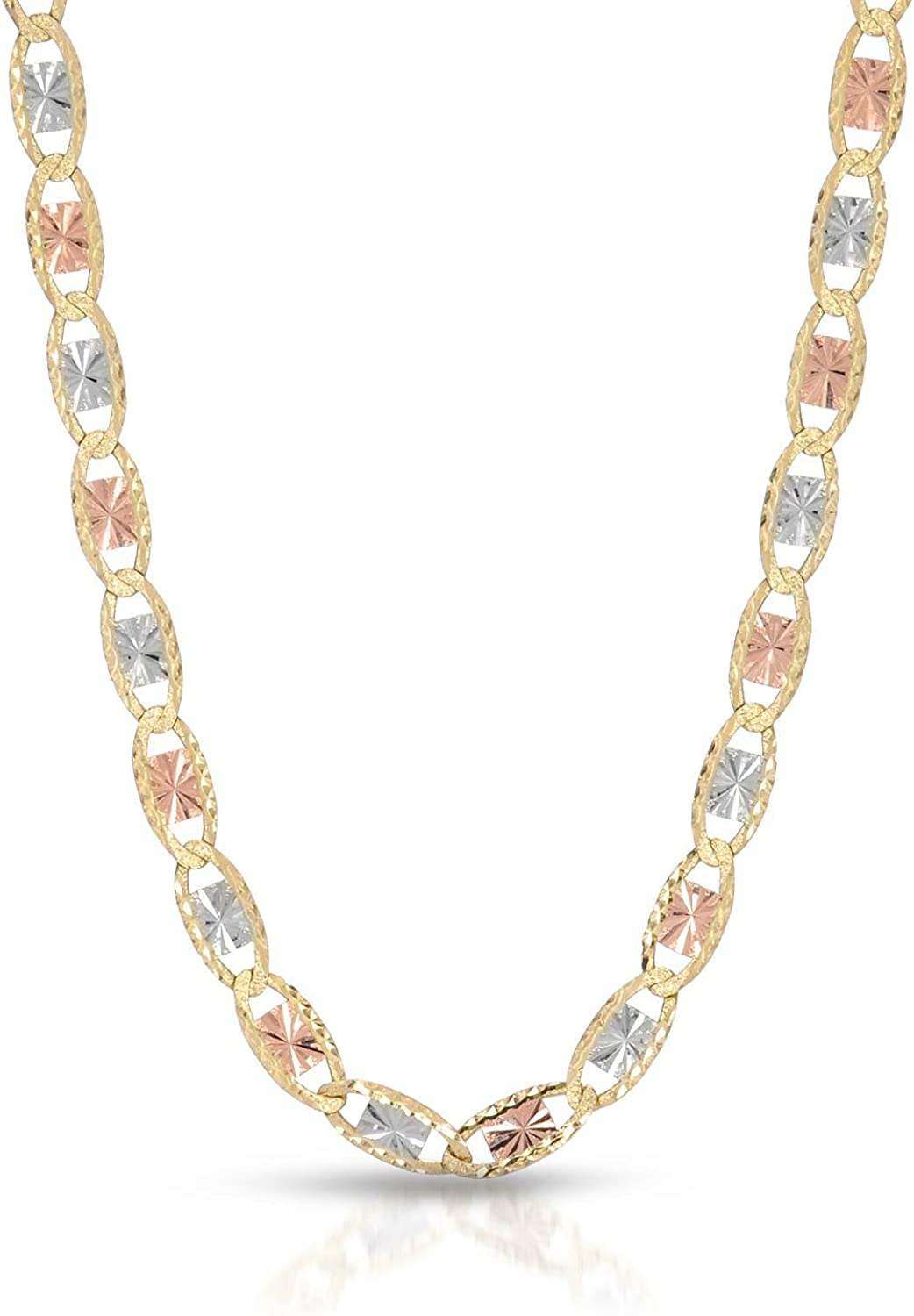 MCS Jewelry 14 Karat Three Tone Yellow Gold/White Gold/Rose Gold Necklace 2 mm Width (16