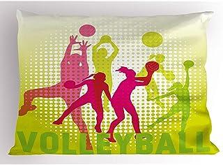 4 Piezas 18X18 Pulgadas Funda De Almohada De Voleibol,Siluetas De Niña Jugando Voleibol Varias Posiciones Con Fondo De Semitono,Decoración Para El Hogar Funda De Almohada Impresa De Tamaño Estándar