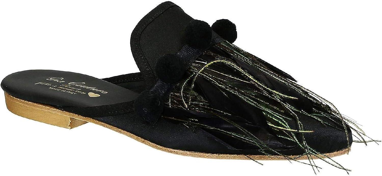 GIA COUTURE Women's VENUSSATINB Black Fabric Sandals