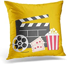 Decorative Pillow Cover Big Movie Reel Open Clapper Board Popcorn Box Ticket Admit One Three Star Cinema Yellow Flat Design Style Throw Pillow Case Square Home Decor Pillowcase 18x18 Inches