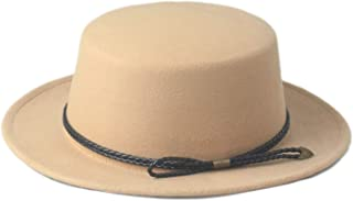 Autumn Cloche Elegant Lady Fascinator Felt Wide Brim Fedora Gambler Hat Women Men Wool Pork Pie Boater Flat Top Hat (Color : Khaki)