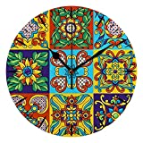 ZHONGJI Wall Clock Silent Non Ticking Battery Operated Accurate PVC Decorative Mexican Talavera Ornament Home Kitchen Living Room Bedroom School 10 Inch