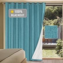 Linen Blackout Curtains Durable Thick Textured Linen Look 100% Blackout Patio Door Curtain Anti Rust Grommet Extra Wide Sl...