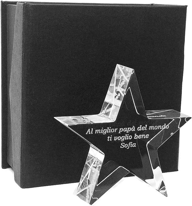 Trofeo stella in vetro di qualità ottica - trofeo con incisione personalizzata - incisione laser- B07Y41HL1B