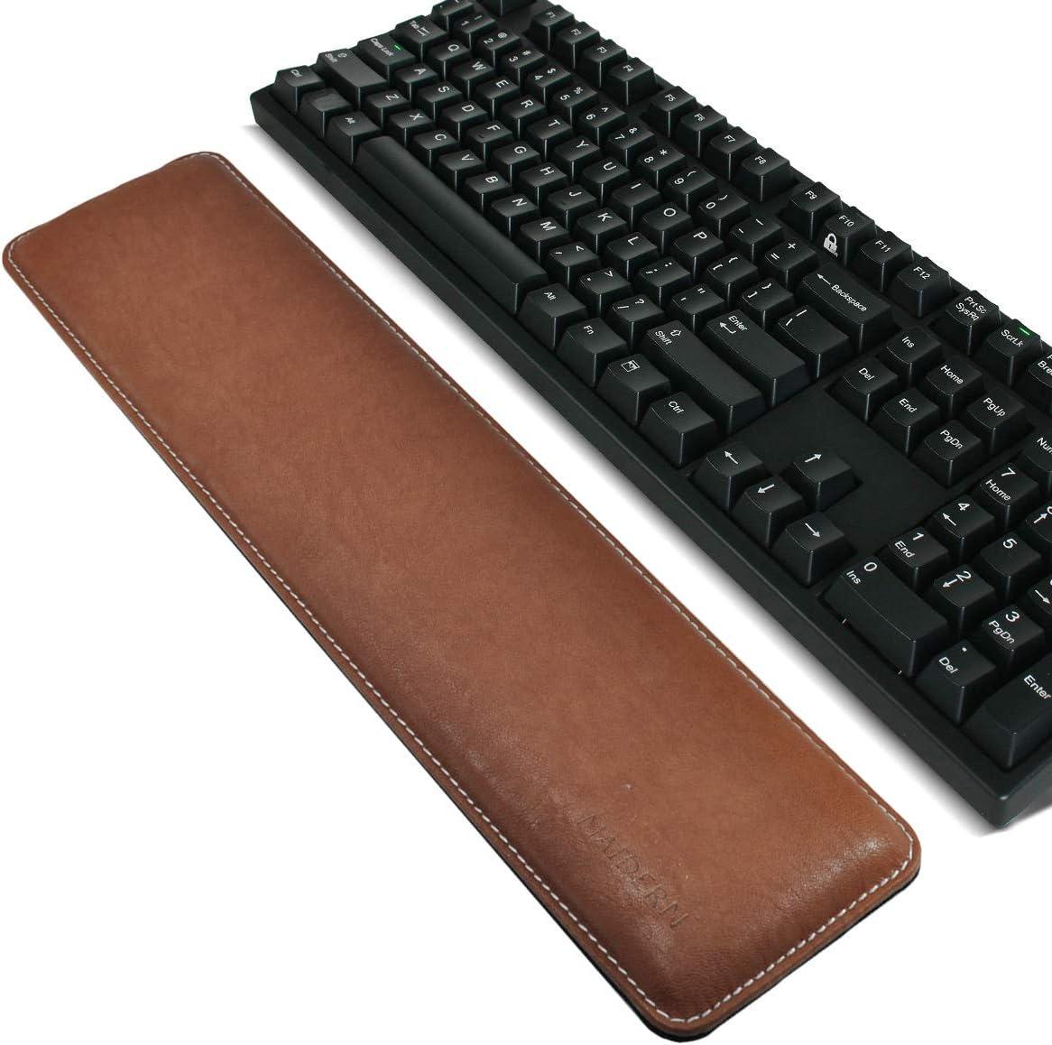 Reposamuñecas para Teclado, Ergonómico Cojín de Muñeca Apoyo con Espuma de para Ordenador/Notebook/Laptop, 41.5x9.5cm Cuero PU Marrón