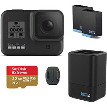 GoPro HERO8 Black Action Camera w/GoPro Dual Lithium-Ion Battery Charger with 1 x Battery and 32GB Memory Card
