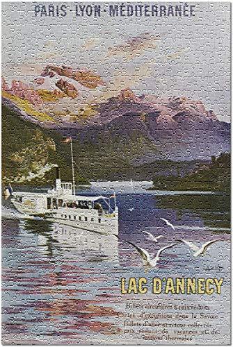 Haute-Savoie, Francia - Barco en el lago de Annecy;Ferrocarril Paris-Lyon-Mediterranee Puzzle de 500 Piezas para Adultos