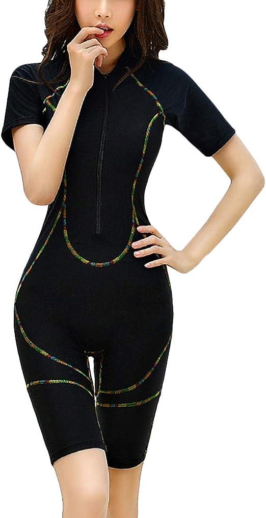 Sidiou Group Neoprenanzug Kurz Damen Surfanzug Rei/ßverschluss Vorne Tauchanzug Schnorchelanzug Kurzarm Einteilige Badeanz/üge f/ür Damen