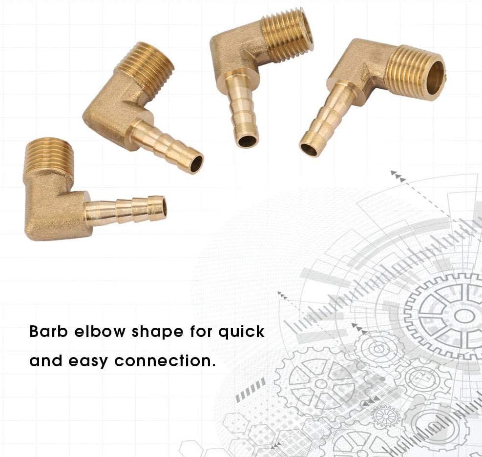 4pcs Tuyau de Coude Barb Raccord Tuyau de Barb Tuyau de Coude de Filetage M/âle en Laiton G1//4 G1//4 6mm