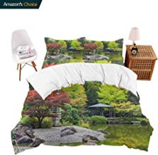 carmaxsHome Hotel Luxury Bed Sheets Red Tree Near The Green Pond in Japanese Garden in Bonn,Germany Hypoallergenic Bed Sheet Set and Pillow Case Set Queen
