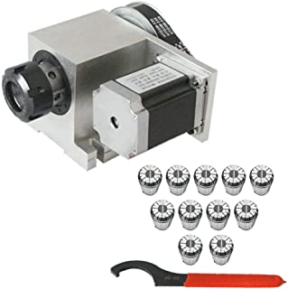 LFJD Stepper Motor CNC Router Axis 4th Axis Hollow Shaft Rotational + Standard ER32 Collets 3-20mm