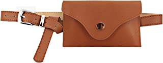 Women Faux Leather Fanny Pack Mini Waist Pouch Fashion Travel Cell Phone Bag/Light Tan