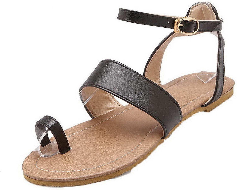 AmoonyFashion Women's Solid Pu No-Heel Split Toe Buckle Sandals
