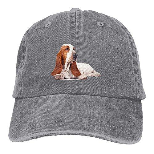 JJIAYI Vintage Cotton Denim Cap Baseball Hat Basset Hound Dog Six-Panel Adjustable Trucker Dad Hat for Adults Unisex