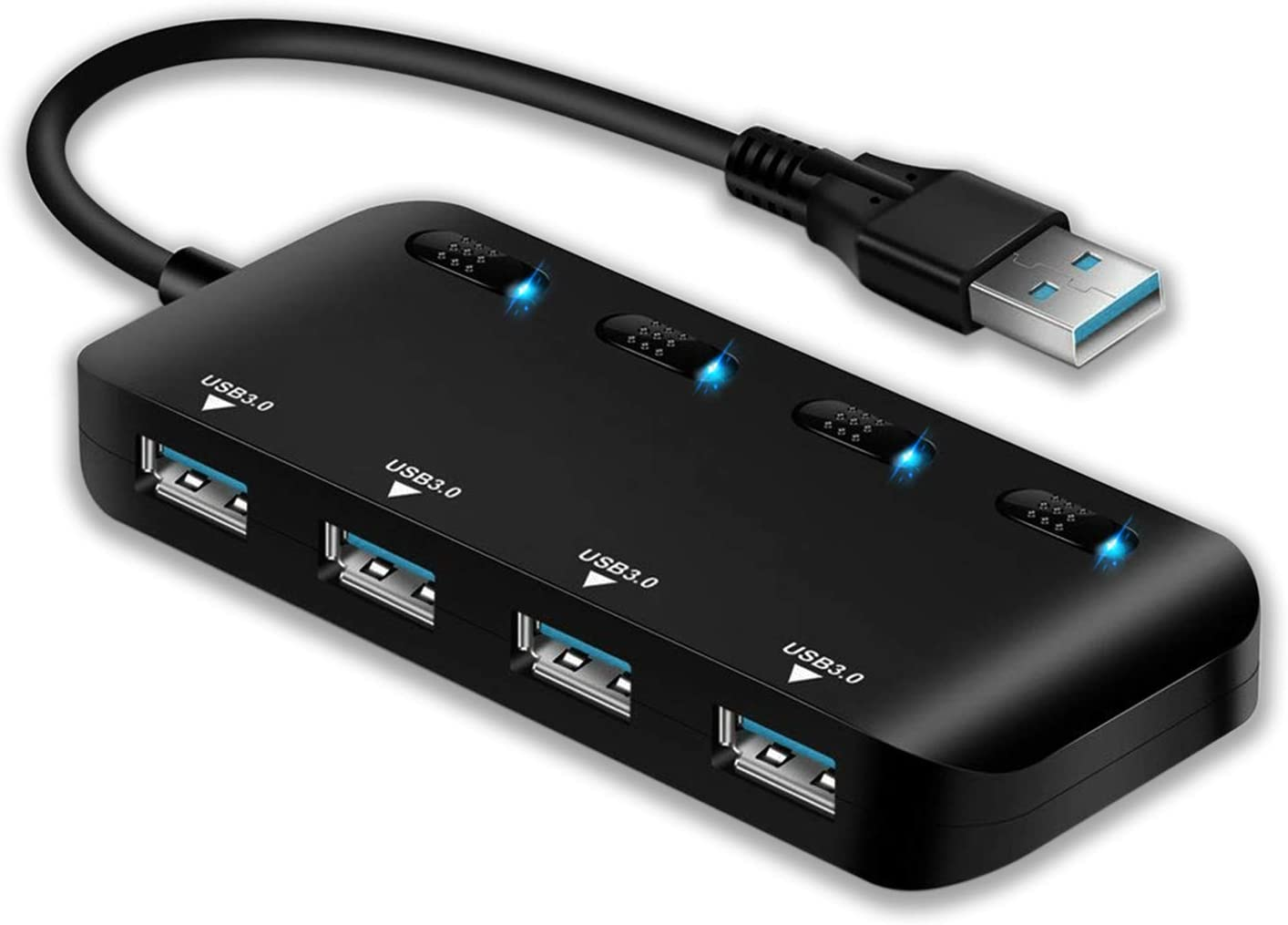 APANAGE 4 Port Powered USB 3.0 Hub Splitter, Ultra Slim USB Data Hub with Individual Power Switches and LEDs, for MacBook Air, Laptop, iMac,PC, USB Flash Drives, Hard Drive (Black)